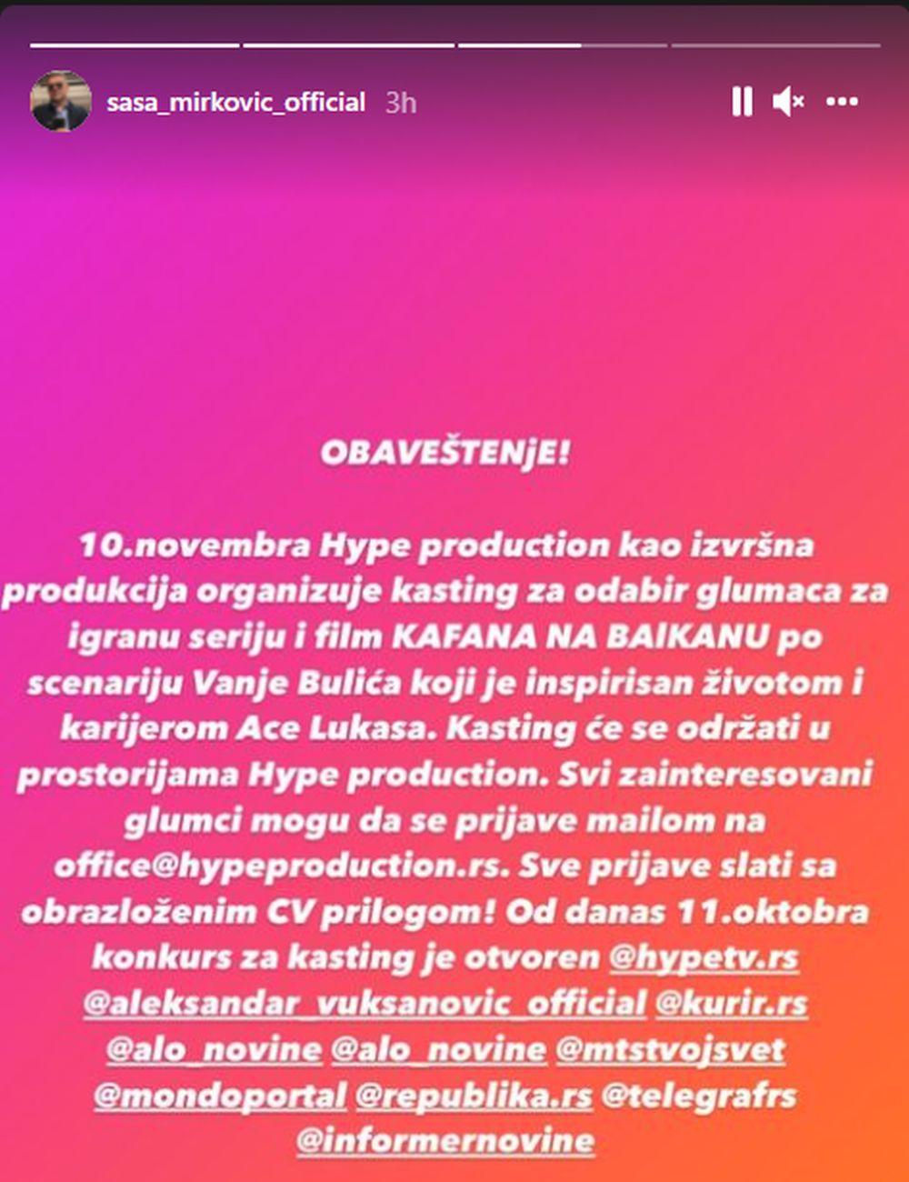 sasa mirkovic instagram kasting